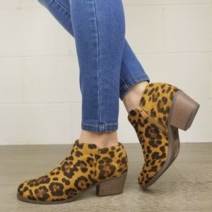 Shoes - Vegan Suede Leopard Print Ankle Booties - J